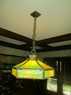 Antique Original  Arts and Crafts/Mission Hexagonal Ceiling Light