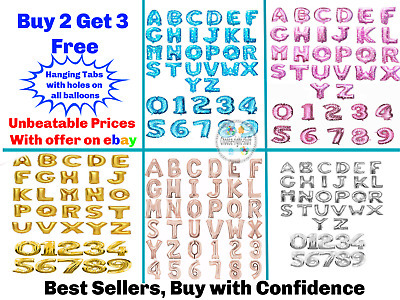 "Gold & Silver 16"" Alphabet Letter Number A-Z Foil Balloons WEDDING PARTY NAME"