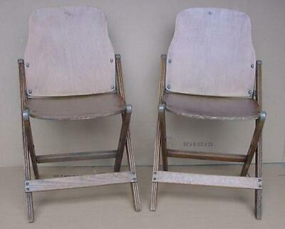 Antique Pair Country Rustic Wood Folding Chairs Theater Movie Prop Display