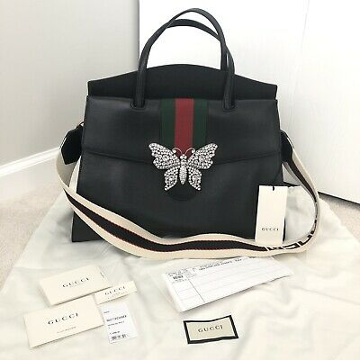 19a4206d995e Authentic $4200 Gucci Totem Large Black Leather Bag With Butterfly & Web  Strap