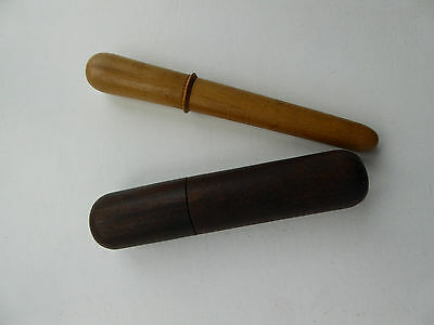 2 x RARE ANTIQUE FRENCH WOODEN NEEDLE CASES - SEAMSTRESS TOOL