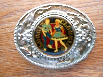 VINTAGE 1970s **CLOGGING** SOLID METAL BELT BUCKLE UNMARKED