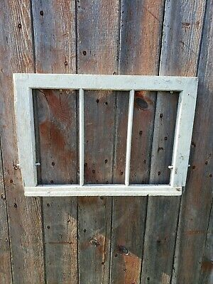 VINTAGE ANTIQUE FARMHOUSE WOOD SASH WINDOW triple PANE CRAFTS NO GLASS 24x17