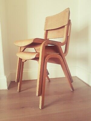 Set of 4 retro vintage Tecta style school dining chairs mid century industrial