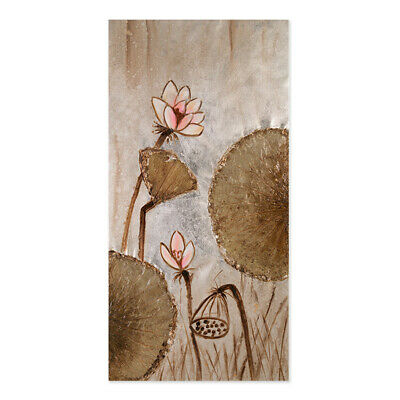 Modern Lotus Flower Oil Painting Canvas On Wall Art Decor Handpainted With Frame