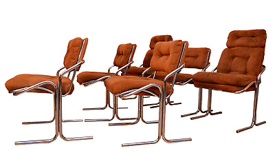 Set of 6 Baughman Style 1970's Chrome Cantilever Dining Chairs by Cal-Style