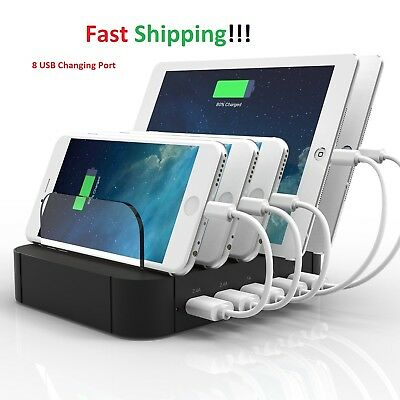 8 Multi Port USB Charging Station Desktop Phone Charger Dock IPhone Tablet