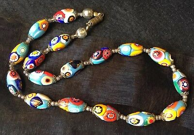 Antique Art Deco Brass Filigree Artisan Rare Millefiori Art Glass Bead Necklace