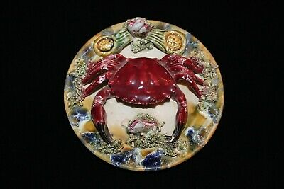 ANTIQUE 19th CENTURY PORTUGUESE PORTUGAL PALISSY MAJOLICA CRAB PLATE EXCELLENT!