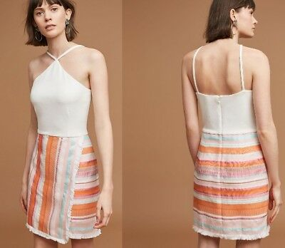 7a0ca476e7216 Anthropologie NWT Hutch Kalyn Halter Dress w/ Fringed Faux-Wrap Skirt L 12  $168