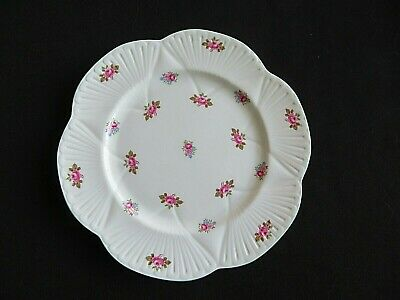 Vintage Shelley ROSEBUD lunch plate green rim scalloped edge gifts for her