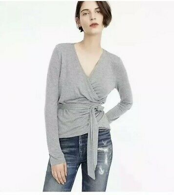 35b8c19eb132 J Crew Wrap and Tie Top Blouse Long Sleeve V Neck Heather Gray H6782 medium