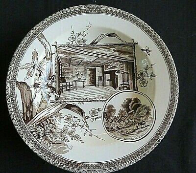 Aesthetic Brown Transferware Rimmed Soup THE WORLD Wallis Gimson C. 1884-1890