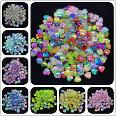 100pcs 8mm Acrylic Spacer Beads Heart-shaped Charm Beads For Jewelry Making