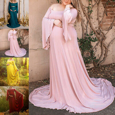 8c1f2d8959385 Pregnant Women Sexy Long Maxi Gown Photography Photo Bell Sleeve Maternity  Dress