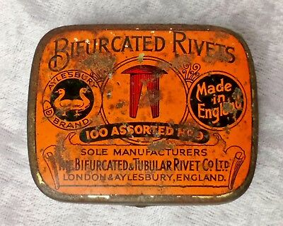 Aylesbury Brand Bifurcated Rivets Vintage Tin. Tools/DIY Collectable UK