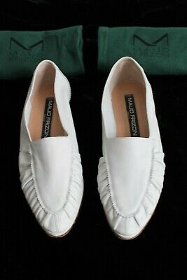 Maud Frizon Super Comfy White Leather Ruch Flats Moccaisin Vintage 80's EU 39.5