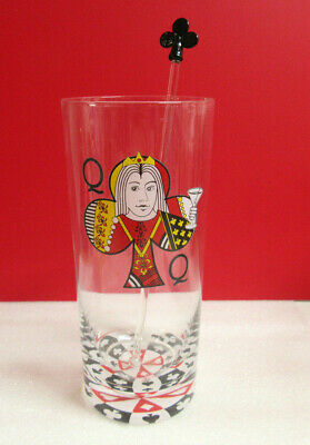 Barware QUEEN OF CLUBS with Swizzle Stick Mixer Card Player Drinking Glass