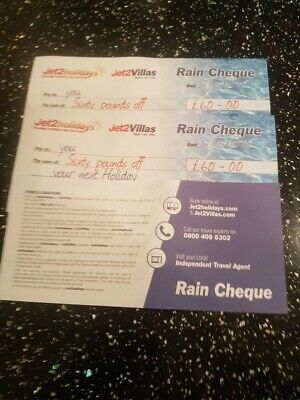 3 X Jet2Holidays Jet2 Villas - £60 Rain Cheque voucher - Valid until March 2020