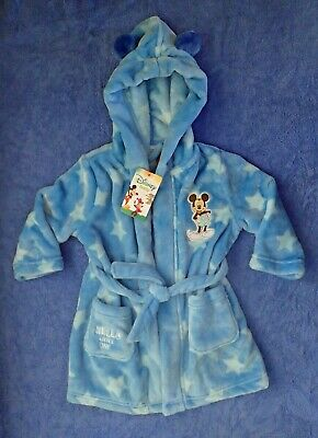 Baby Boys Blue Disney MICKEY MOUSE Dressing Gown / Robe Size 0 or 1 BNWTs