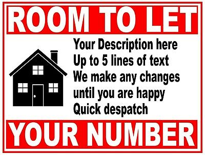 PERSONALISED House Flat Property ROOM TO LET RENT sign boards 4mm Correx