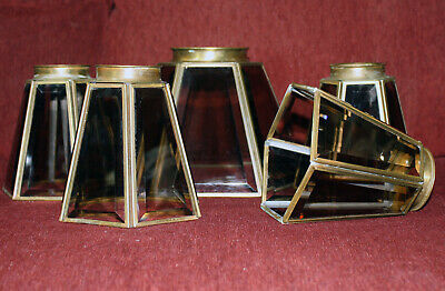 5 Vintage Brass Smoked Glass Beveled Ceiling Fan Lamp Shades Globe Light Fixture