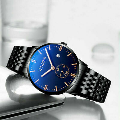 Classic Men's Stainless Steel Quartz Date Analog Waterproof Business Wrist Watch