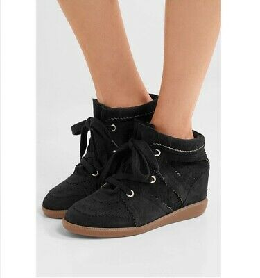 Isabel Marant - étoile Bobby Black Suede Wedge Sneakers Size 40