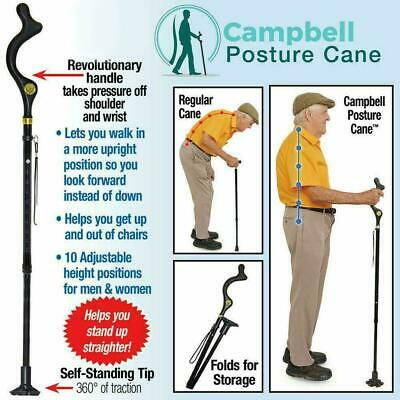 Campbell Posture Cane - Walking Cane with Adjustable Heights, As Seen on