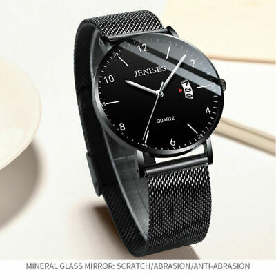 Ultra Men Slim Watch Stainless Steel Quartz Arabic Analog Date Mesh Wrist Watch