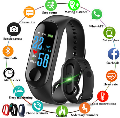 Smart Band Watch Bracelet Wristband Fitness Trac Blood Pressure HeartRate M3 ac0