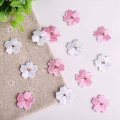 Embroidered Iron On/Sew On Patch Cherry Blossom Clothes Applique Motif Transfer