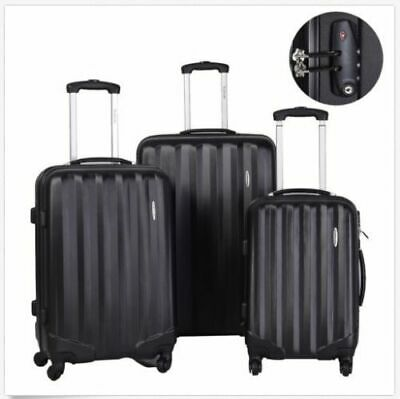 New 3 Pieces Set Hardside Luggage Travel Carry on Bag Trolley Spinner Suitcase B