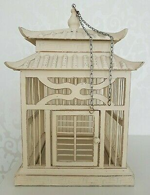 Vintage English Decorative Wooden Bird Cage painted beige with door & drip tray