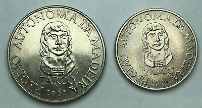 Portugal Madeira 25 + 100 Escudos 1981 Uncirculated Zarco 2 Coin Set