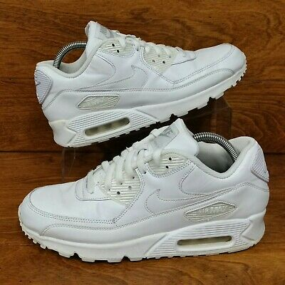 Nike Air Max 90 (Men's Size 8.5) Leather Athletic Sneaker Shoes White/White