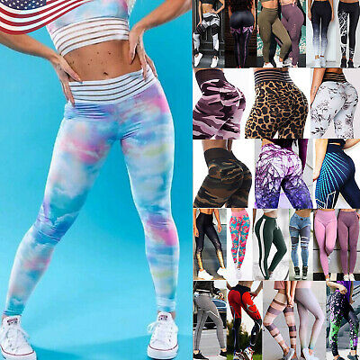 Women Ruched Push-up Leggings Yoga Pants Anti Cellulite Sports Scrunch Trousers