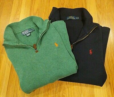 3884bde24 Lot of 2 Mens Small Polo Ralph Lauren Jumper Pullover Sweaters Cotton 1 4  Zip
