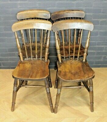 Set 4 Antique Victorian Stick Back Beech & Elm Farmhouse Kitchen Dining Chairs