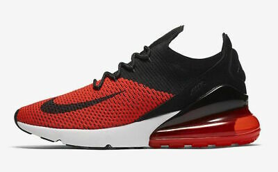 Nike Air Max 270 Flyknit Men's Running Shoes AO1023 601 Chile Red Black NIB