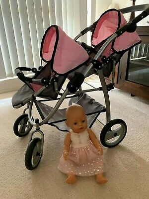 Dolls pram, Twin Seat + Real Baby Bjorn Doll