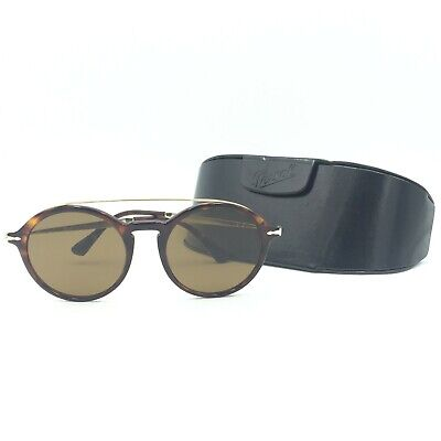 df9335882183d Persol 3172-S 24 57 Round Havana Gold Sunglasses W  Brown Polarized Lens