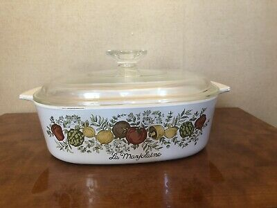 cocotte carrée Pyroflam corning avec couvercle annee 1975 made in hollande
