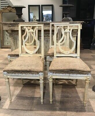 Set Of 4 French Lyre Back Dinning Chairs