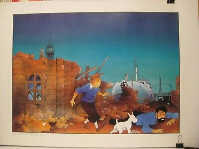"Tintin affiche Somon ""Barcelone"" Ed. P&T Productions 1990 TBE"