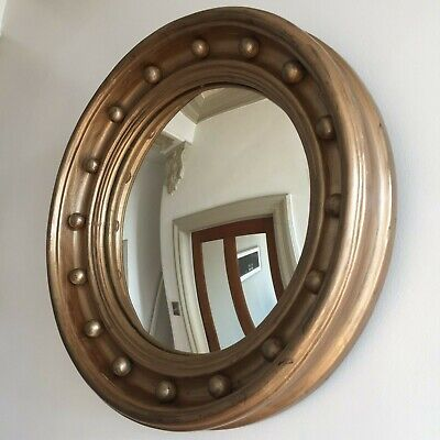 Extra Large Antique Regency Period Round Convex Wall Mirror Gold Ball 53cm m218