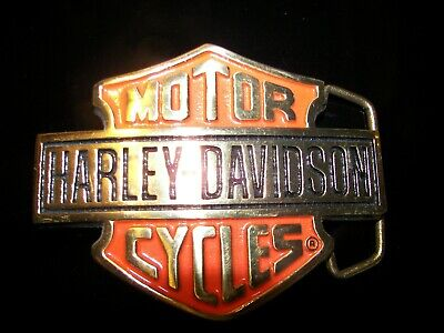 Vintage Harley-Davidson Belt Buckle Brass Orange Black Enamel Bar & Shield 1991