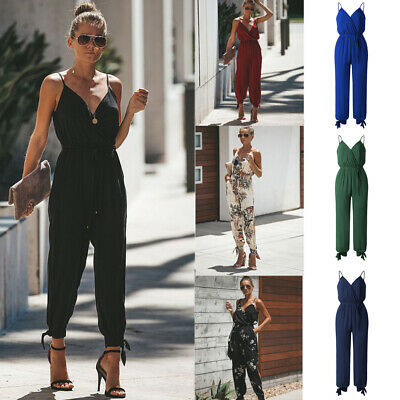 Womens Summer V-Neck Cotton Jumpsuit Wrap Side Split Rompers Clubwear Playsuit