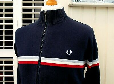 "Fred Perry Navy Knitted Zip-Thru Cardigan - 42"" - M/L - Ska Mod Scooter Casuals"
