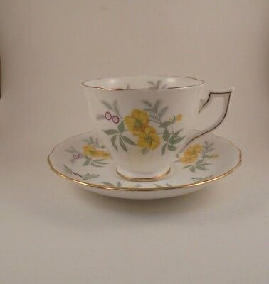 Melba Bone China Tea Cup & Saucer Yellow Flowers 2 Sets Available
